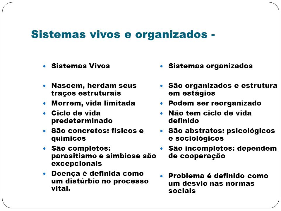 Sistemas vivos e organizados -
