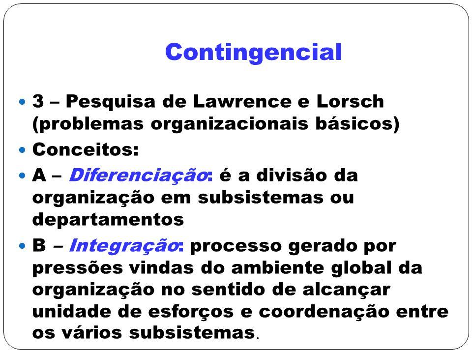 Contingencial 3 – Pesquisa de Lawrence e Lorsch (problemas organizacionais básicos) Conceitos: