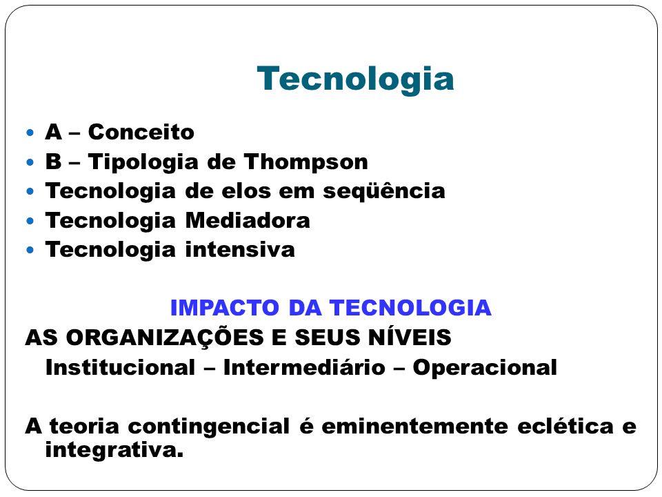 Tecnologia A – Conceito B – Tipologia de Thompson