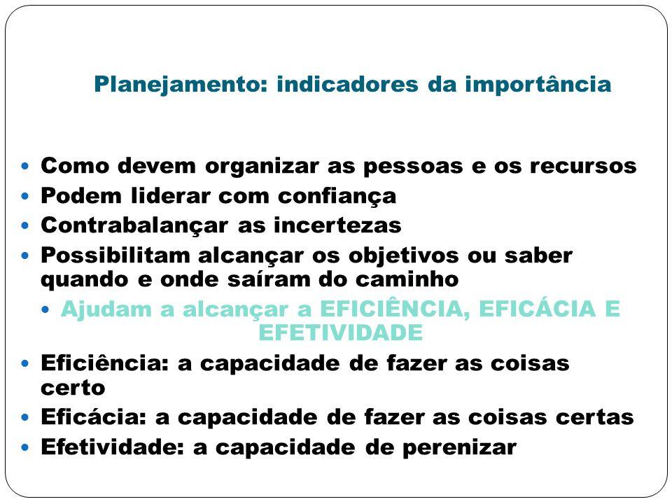 Planejamento: indicadores da importância