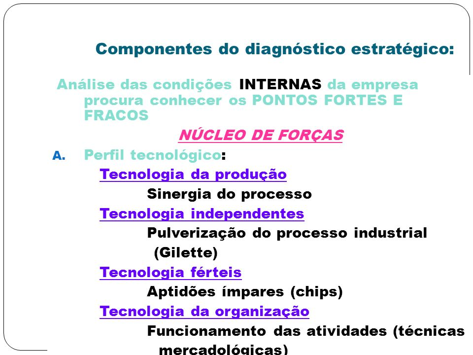 Componentes do diagnóstico estratégico: