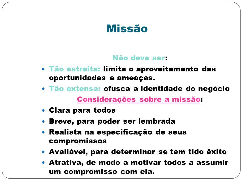 Considerações sobre a missão: