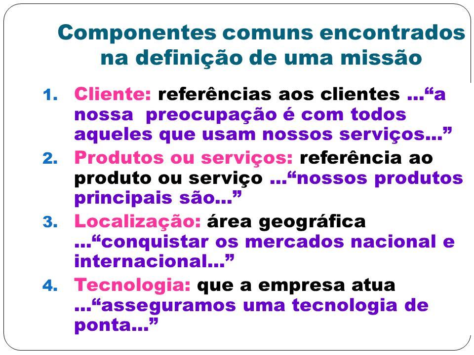 Componentes comuns encontrados na definição de uma missão