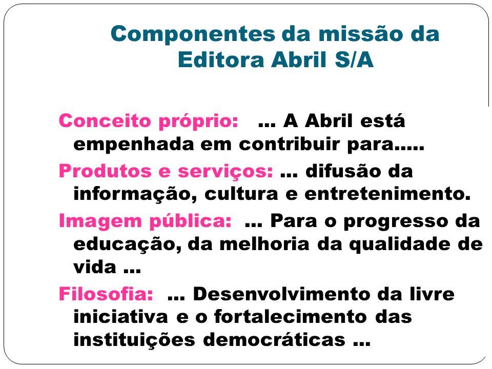 Componentes da missão da Editora Abril S/A
