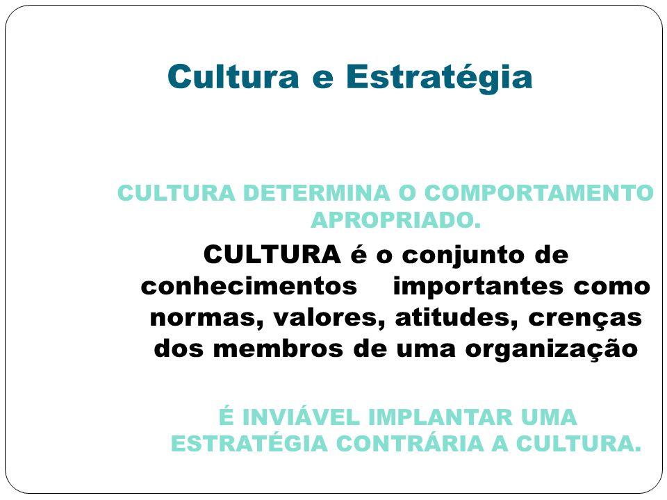 Cultura e Estratégia CULTURA DETERMINA O COMPORTAMENTO APROPRIADO.