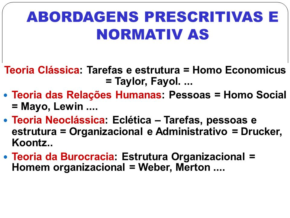 ABORDAGENS PRESCRITIVAS E NORMATIV AS
