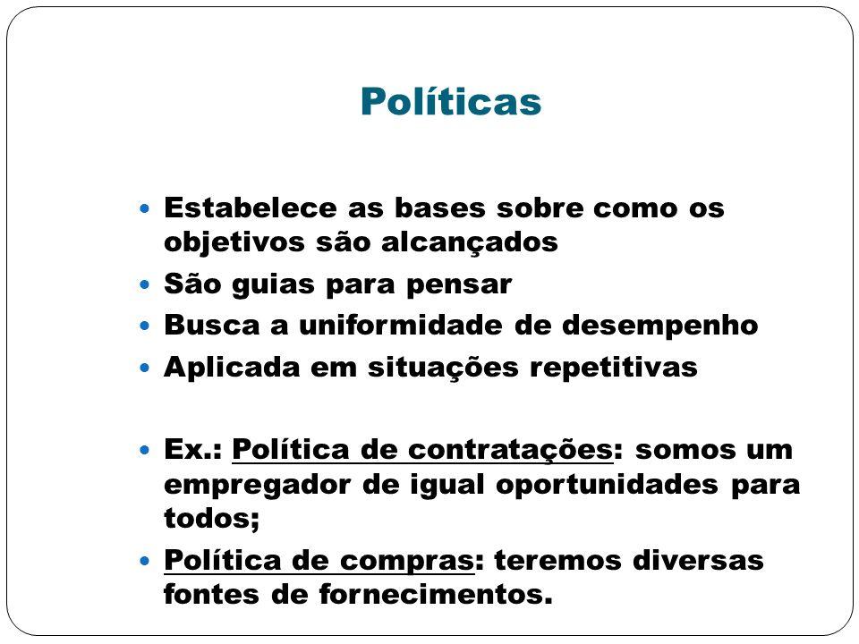 Políticas Estabelece as bases sobre como os objetivos são alcançados