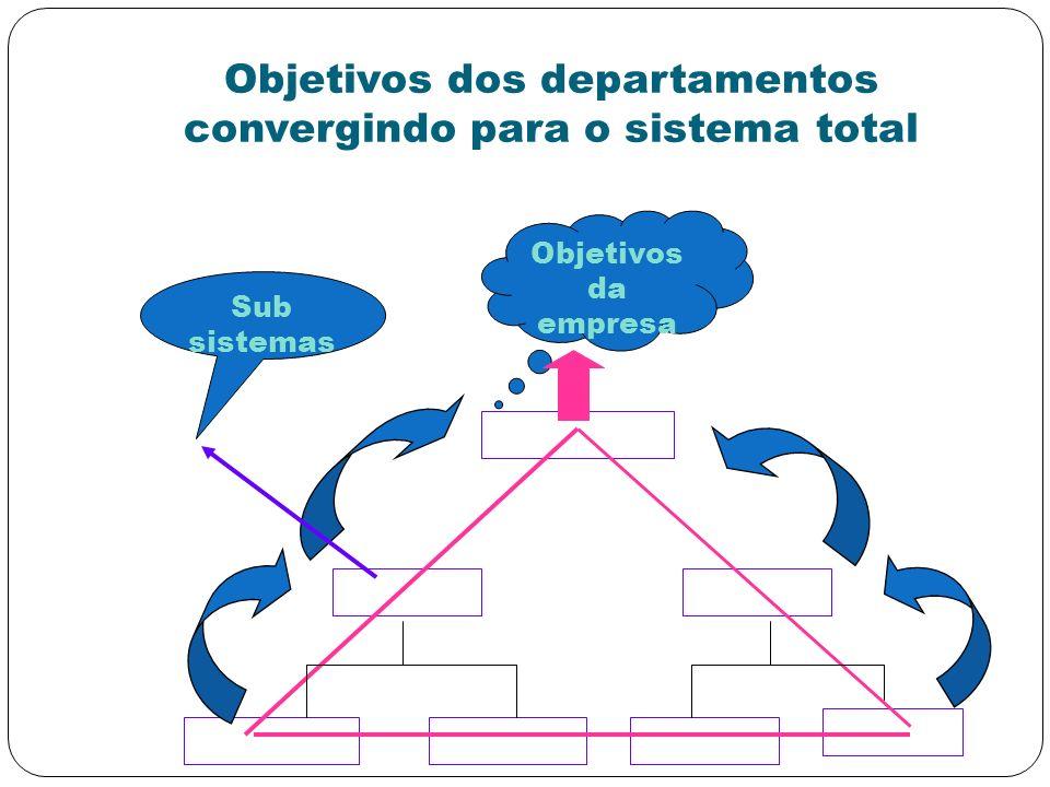 Objetivos dos departamentos convergindo para o sistema total