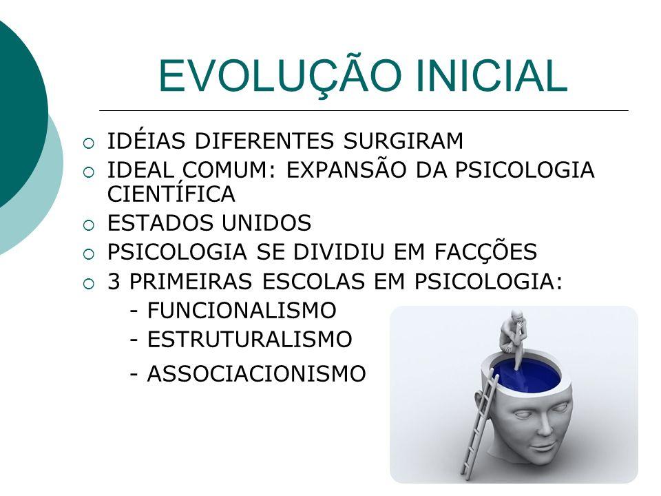 EVOLUÇÃO INICIAL IDÉIAS DIFERENTES SURGIRAM