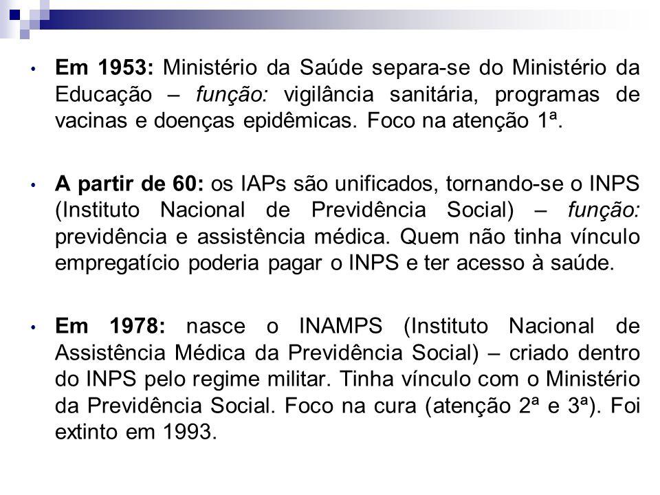 Em 1953: Ministério da Saúde separa-se do Ministério da Educação – função: vigilância sanitária, programas de vacinas e doenças epidêmicas. Foco na atenção 1ª.