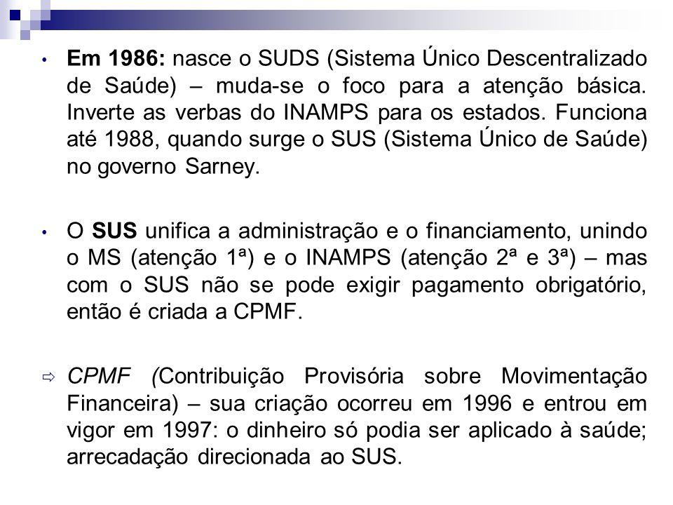 Em 1986: nasce o SUDS (Sistema Único Descentralizado de Saúde) – muda-se o foco para a atenção básica. Inverte as verbas do INAMPS para os estados. Funciona até 1988, quando surge o SUS (Sistema Único de Saúde) no governo Sarney.