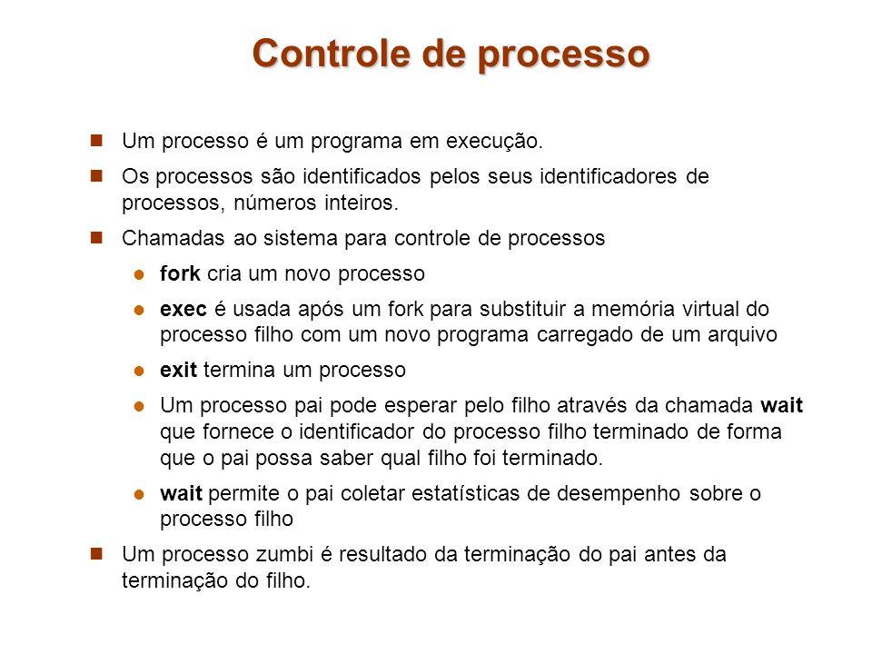 Controle de processo Um processo é um programa em execução.
