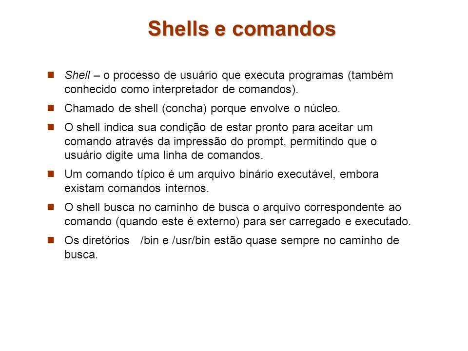 Shells e comandos Shell – o processo de usuário que executa programas (também conhecido como interpretador de comandos).