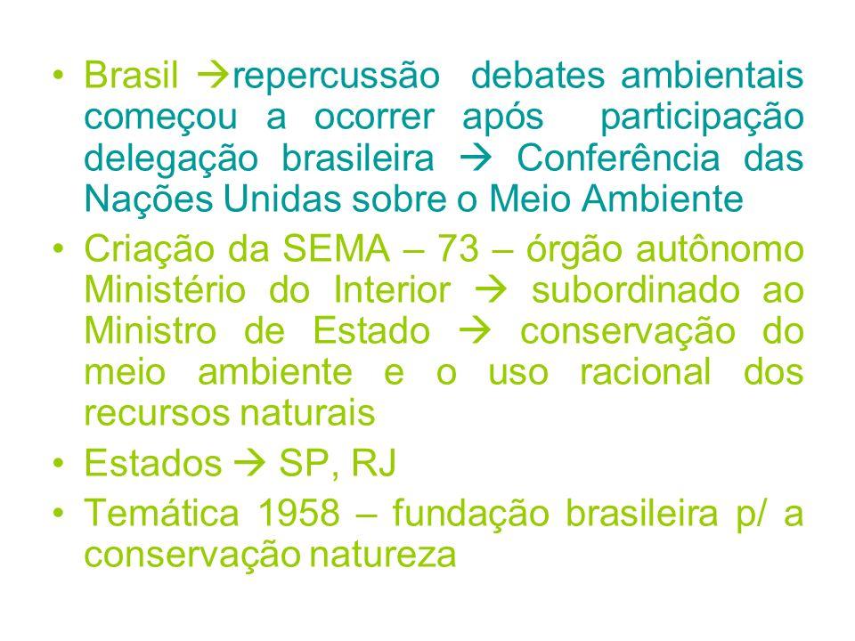 Brasil repercussão debates ambientais começou a ocorrer após participação delegação brasileira  Conferência das Nações Unidas sobre o Meio Ambiente