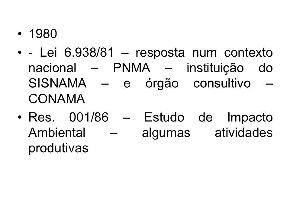 1980 - Lei 6.938/81 – resposta num contexto nacional – PNMA – instituição do SISNAMA – e órgão consultivo – CONAMA.