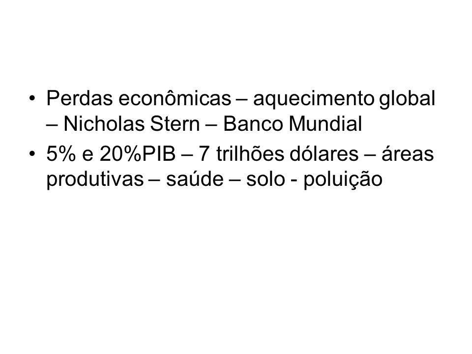 Perdas econômicas – aquecimento global – Nicholas Stern – Banco Mundial
