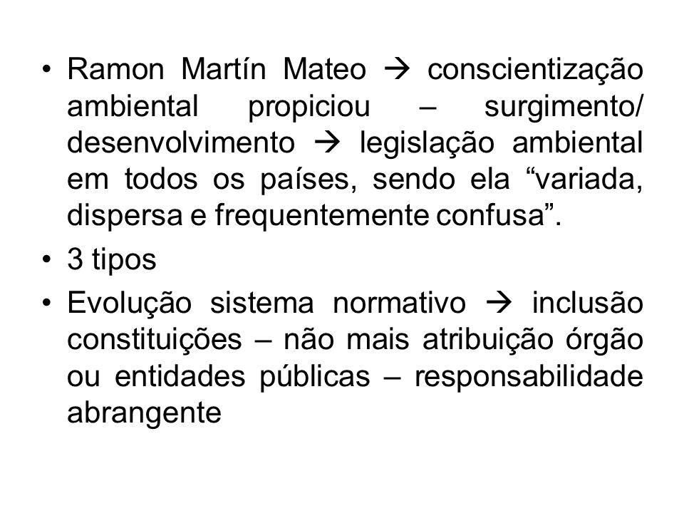 Ramon Martín Mateo  conscientização ambiental propiciou – surgimento/ desenvolvimento  legislação ambiental em todos os países, sendo ela variada, dispersa e frequentemente confusa .