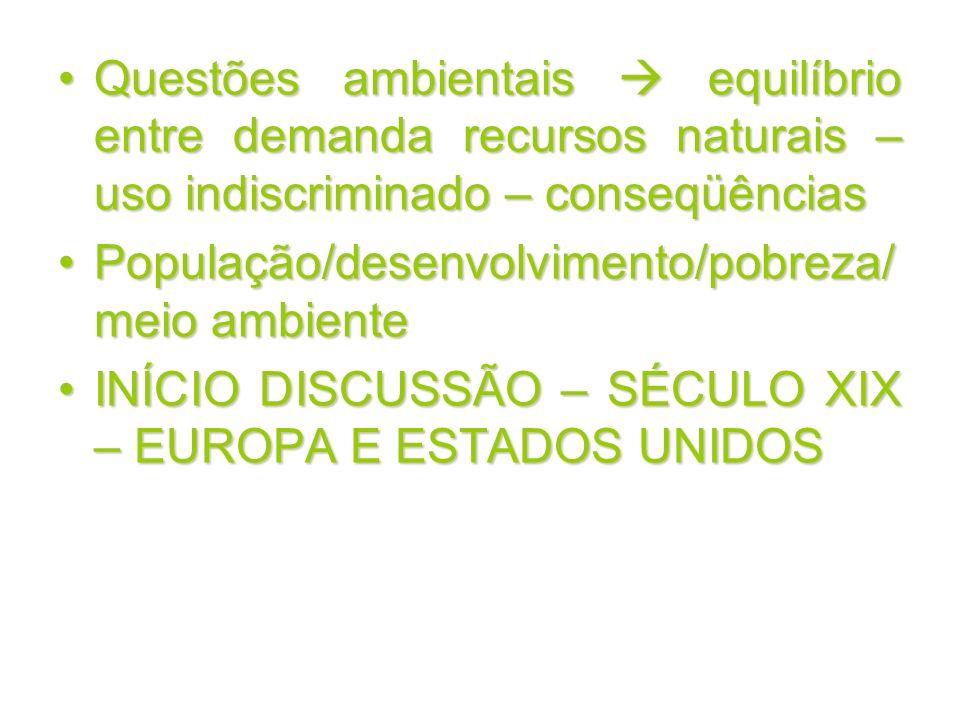 Questões ambientais  equilíbrio entre demanda recursos naturais – uso indiscriminado – conseqüências