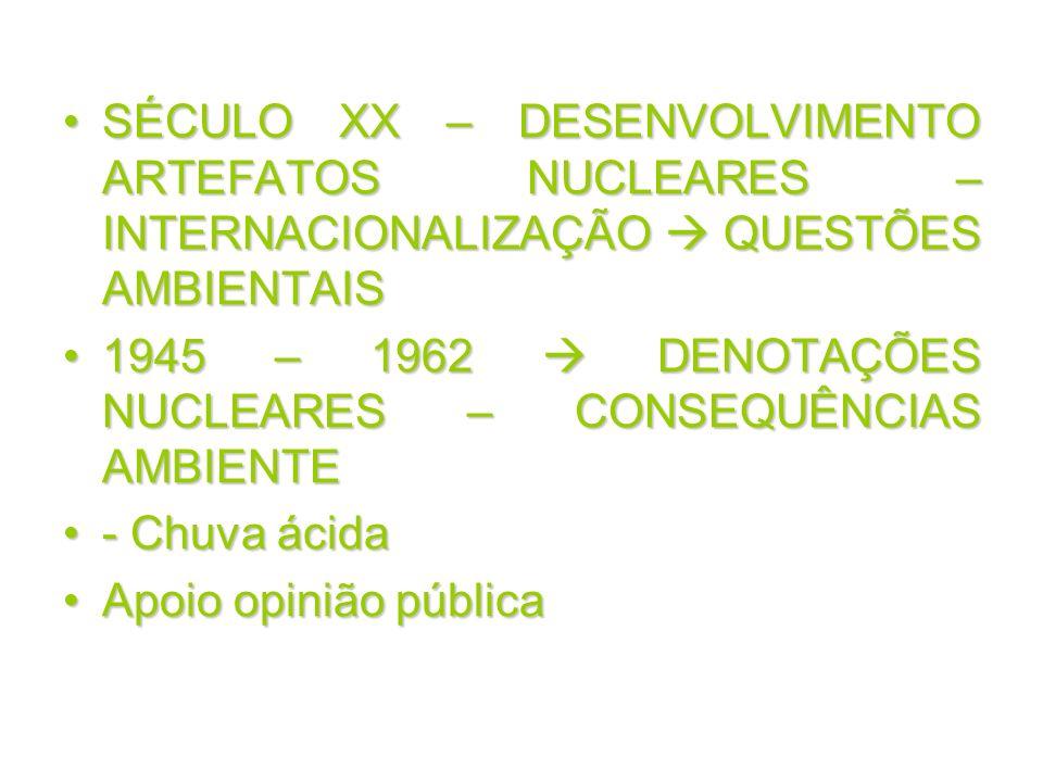 SÉCULO XX – DESENVOLVIMENTO ARTEFATOS NUCLEARES – INTERNACIONALIZAÇÃO  QUESTÕES AMBIENTAIS