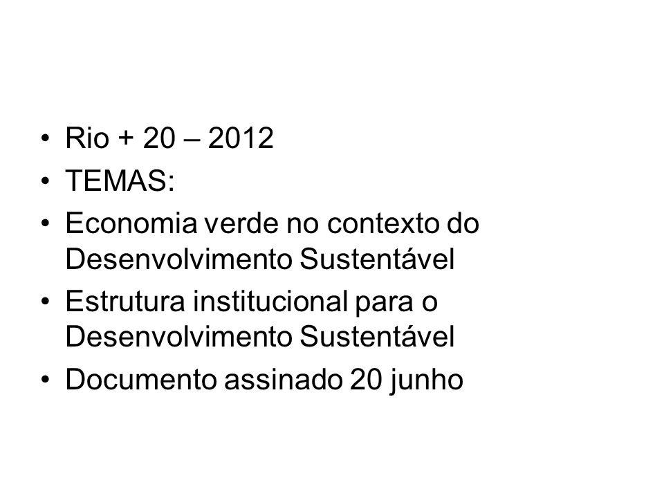 Rio + 20 – 2012 TEMAS: Economia verde no contexto do Desenvolvimento Sustentável. Estrutura institucional para o Desenvolvimento Sustentável.