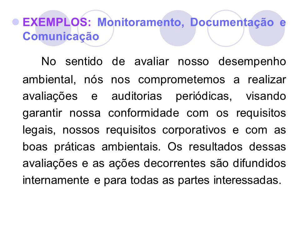 EXEMPLOS: Monitoramento, Documentação e Comunicação