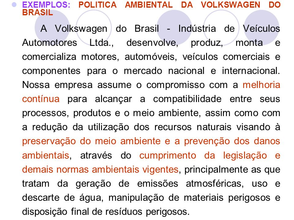 EXEMPLOS: POLITICA AMBIENTAL DA VOLKSWAGEN DO BRASIL