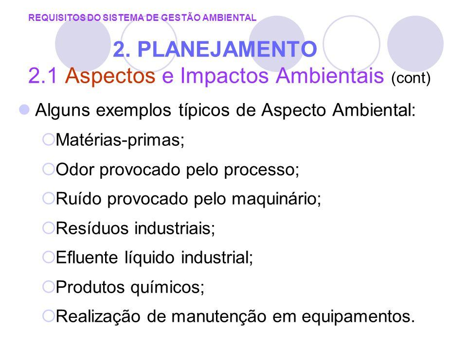 Alguns exemplos típicos de Aspecto Ambiental: