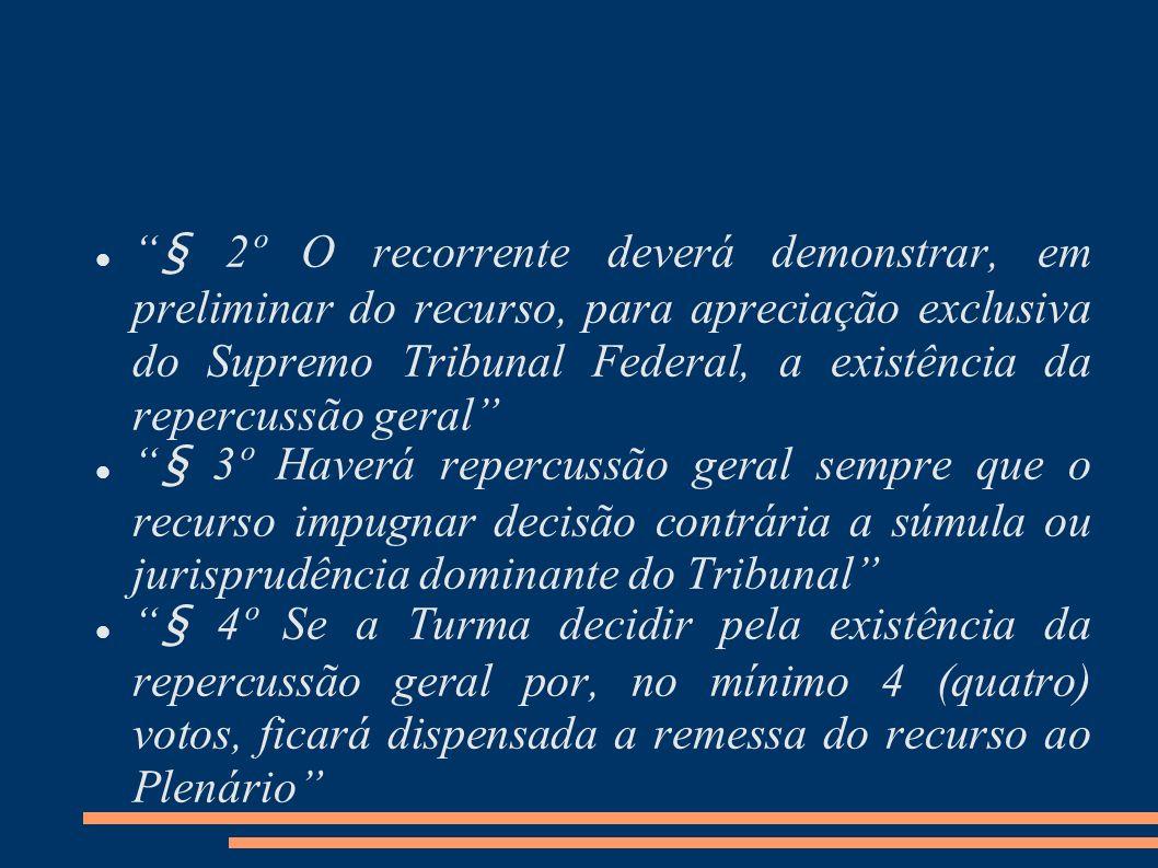 § 2º O recorrente deverá demonstrar, em preliminar do recurso, para apreciação exclusiva do Supremo Tribunal Federal, a existência da repercussão geral