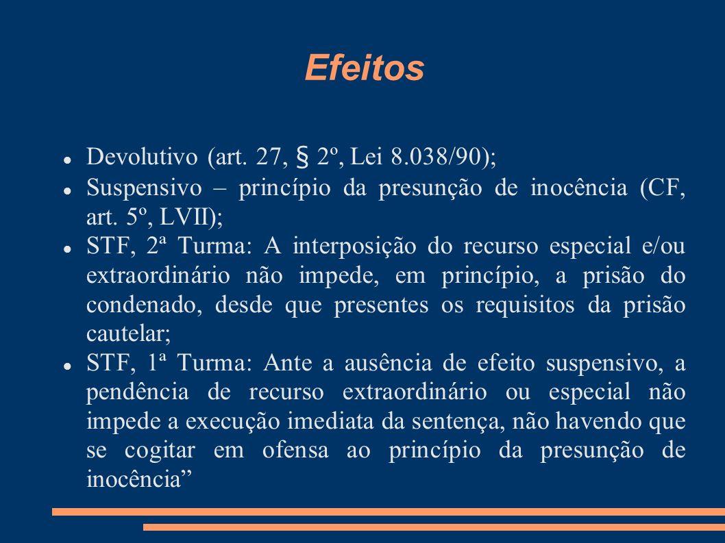 Efeitos Devolutivo (art. 27, § 2º, Lei 8.038/90);