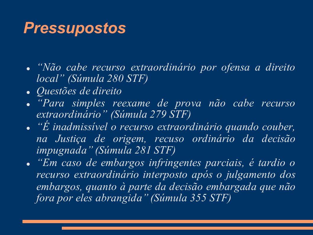 Pressupostos Não cabe recurso extraordinário por ofensa a direito local (Súmula 280 STF) Questões de direito.