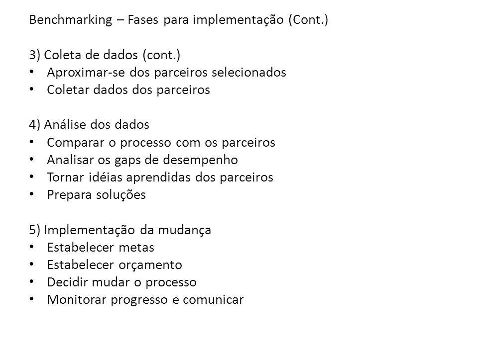Benchmarking – Fases para implementação (Cont.)