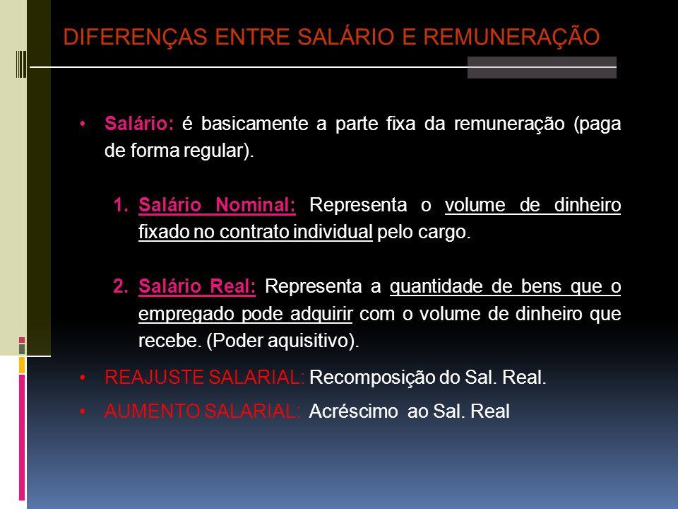 DIFERENÇAS ENTRE SALÁRIO E REMUNERAÇÃO