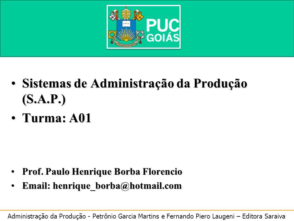 Sistemas de Administração da Produção (S.A.P.) Turma: A01