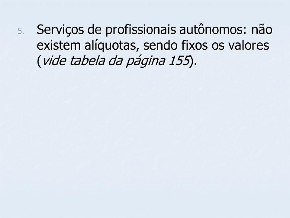 Serviços de profissionais autônomos: não existem alíquotas, sendo fixos os valores (vide tabela da página 155).