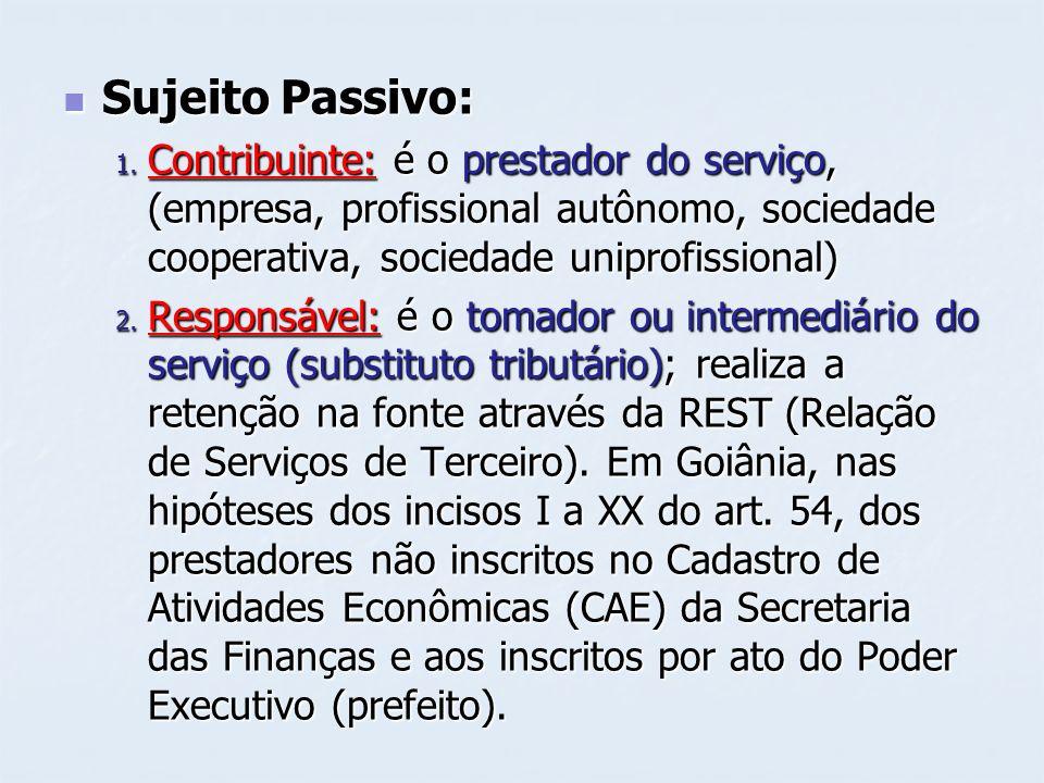 Sujeito Passivo:Contribuinte: é o prestador do serviço, (empresa, profissional autônomo, sociedade cooperativa, sociedade uniprofissional)