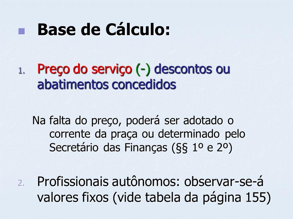 Base de Cálculo: Preço do serviço (-) descontos ou abatimentos concedidos.