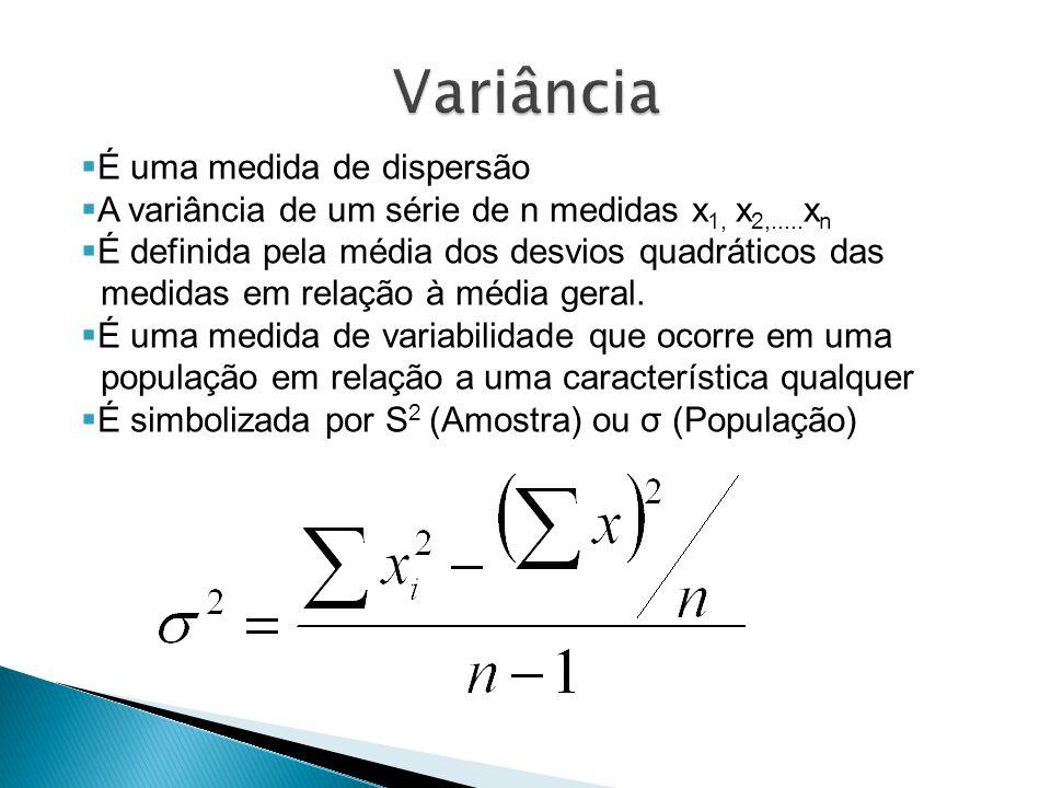 Variância É uma medida de dispersão