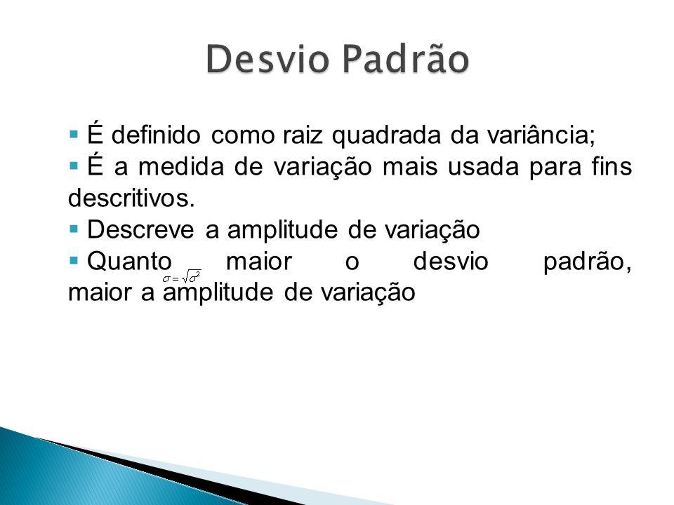 Desvio Padrão É definido como raiz quadrada da variância;