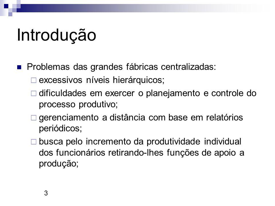 Introdução Problemas das grandes fábricas centralizadas: