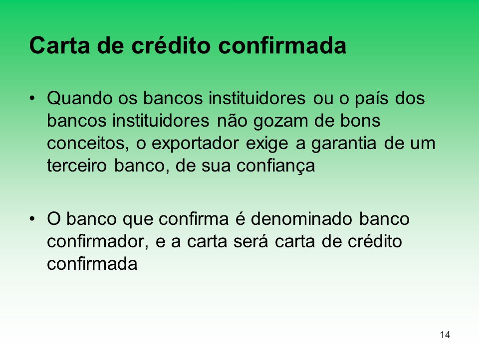 Carta de crédito confirmada