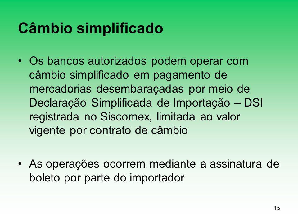 Câmbio simplificado