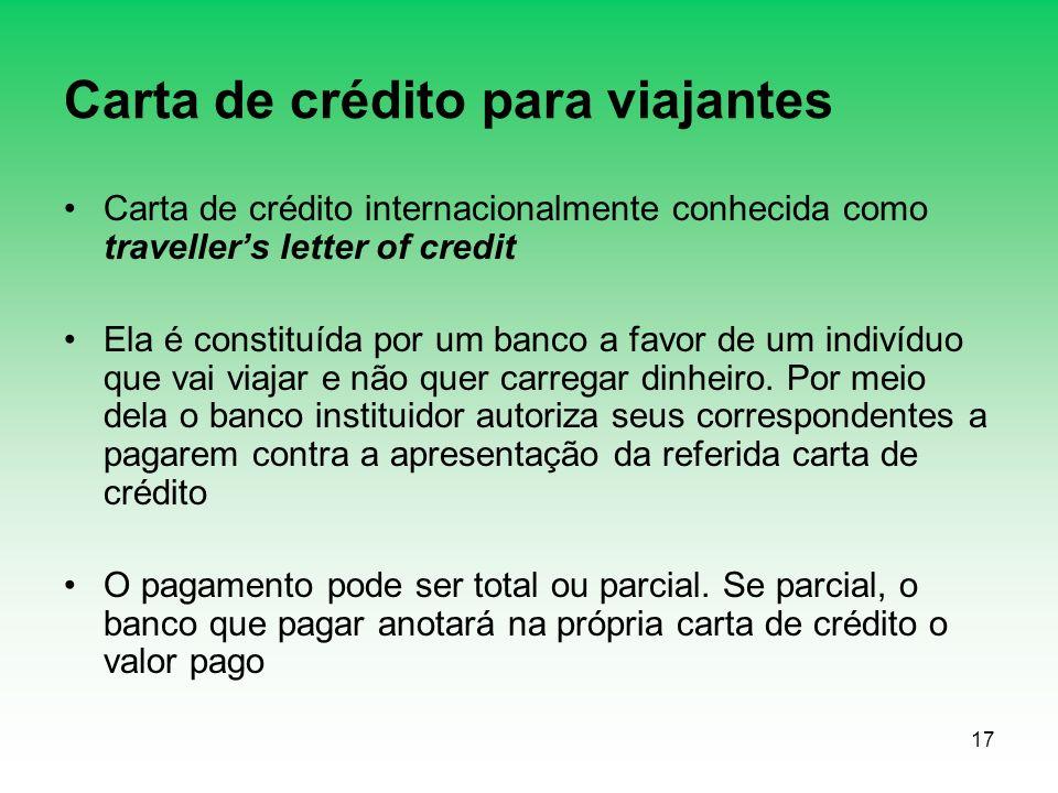 Carta de crédito para viajantes
