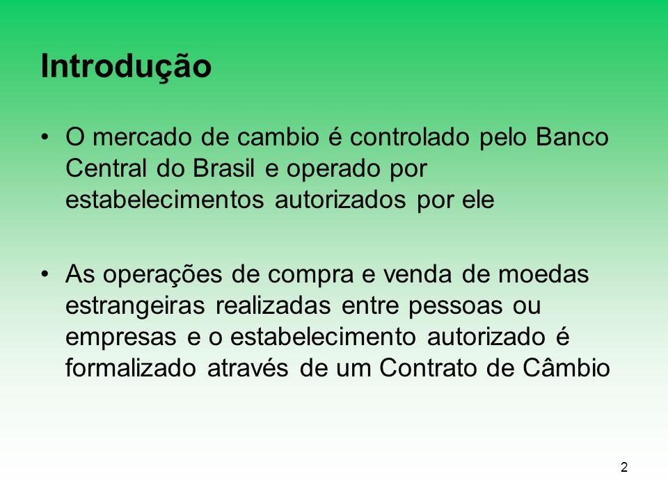 Introdução O mercado de cambio é controlado pelo Banco Central do Brasil e operado por estabelecimentos autorizados por ele.