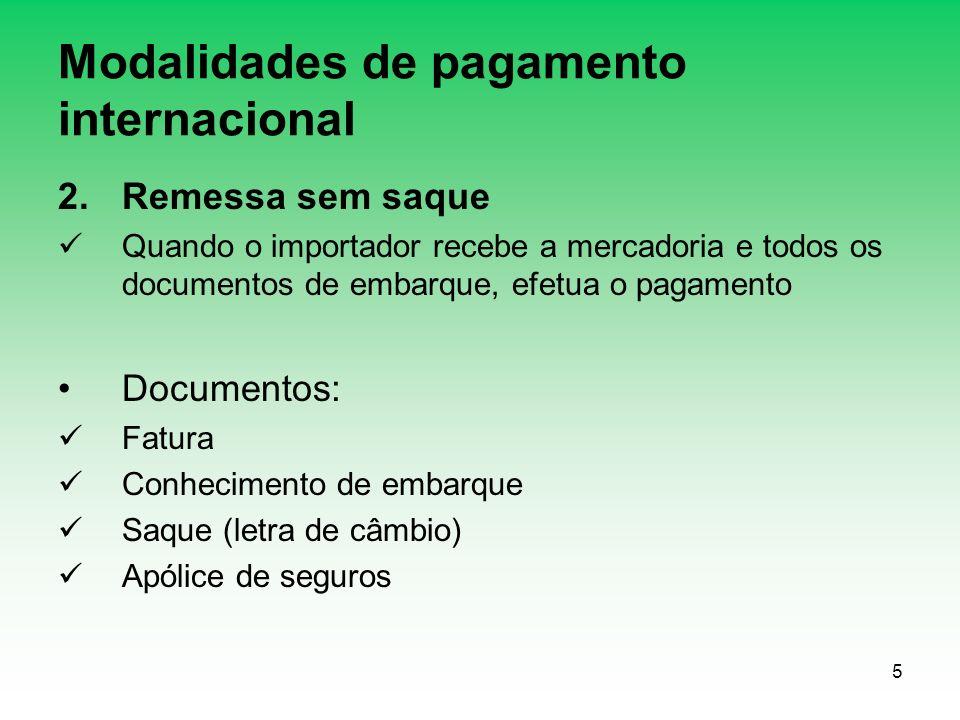 Modalidades de pagamento internacional