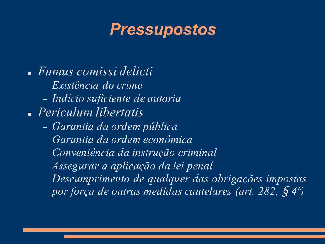 Pressupostos Fumus comissi delicti Periculum libertatis