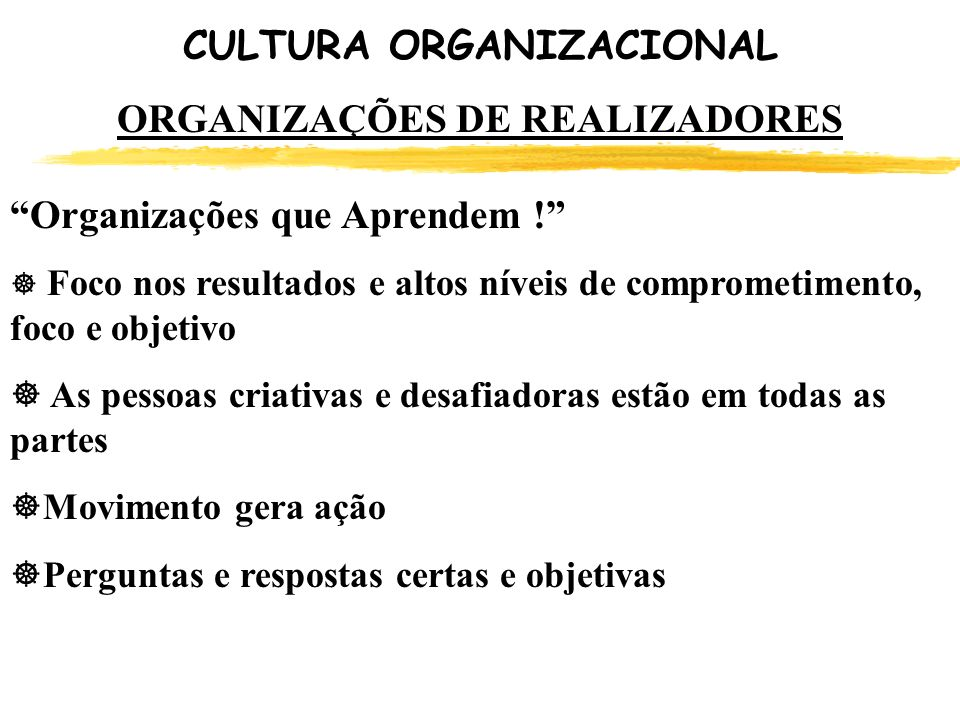 CULTURA ORGANIZACIONAL ORGANIZAÇÕES DE REALIZADORES