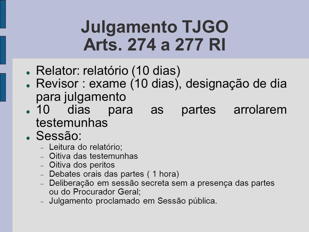 Julgamento TJGO Arts. 274 a 277 RI