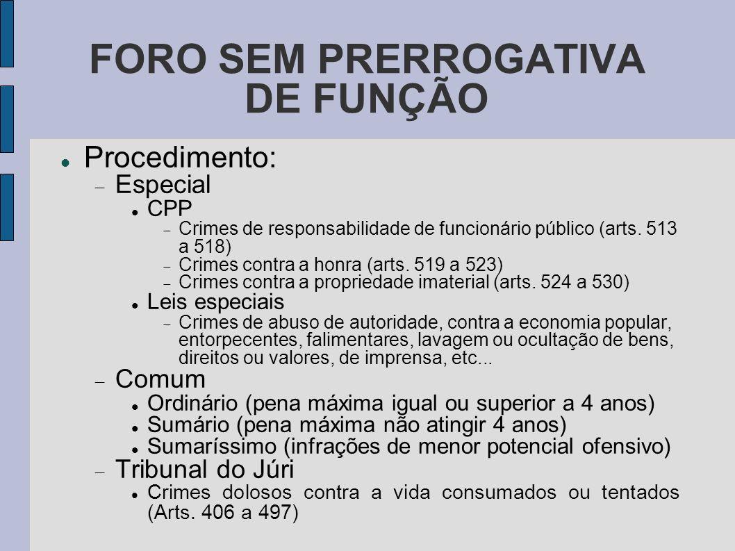FORO SEM PRERROGATIVA DE FUNÇÃO