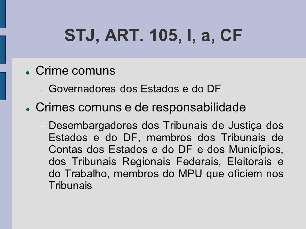 STJ, ART. 105, I, a, CF Crime comuns