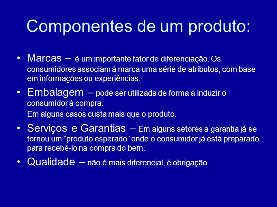 Componentes de um produto:
